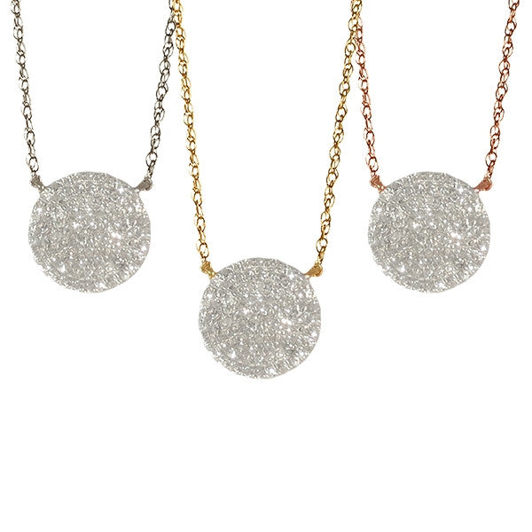 Large Diamond Disc Necklace | 14-Karat