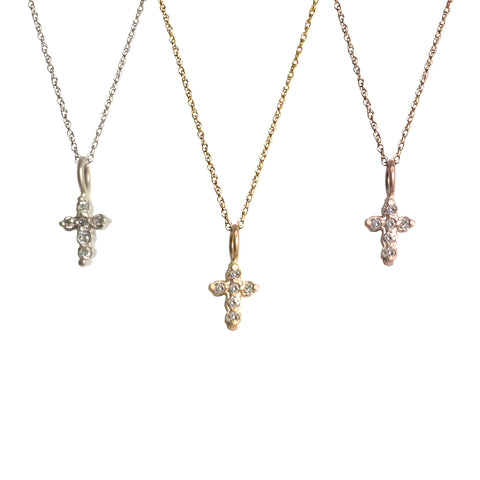 Tiny Diamond Cross Necklace for Baby and Child