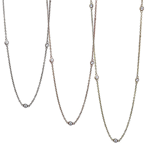 Diamond Station Necklace | 14-Karat