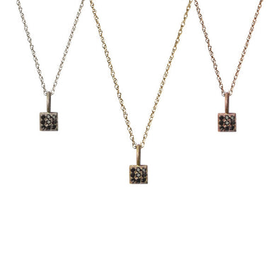 Black Diamond Mini Square Pendant | 14-Karat