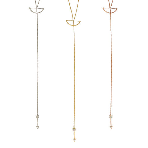 Bow and Arrow Diamond Lariat | 14-Karat
