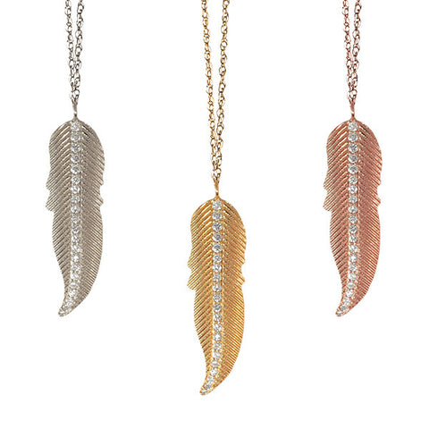 Large Diamond Feather Necklace | 14-Karat