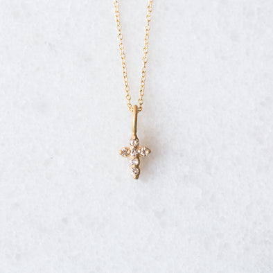 Tiny Diamond Cross | 14-Karat