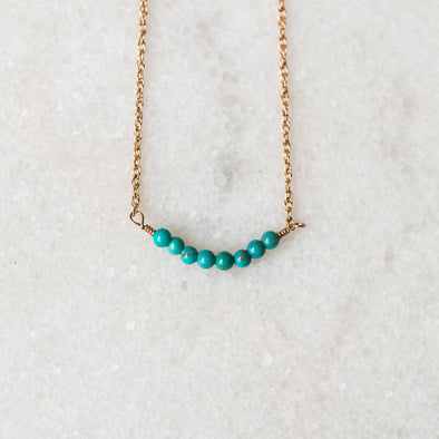 Turquoise Bar Necklace | 14-Karat