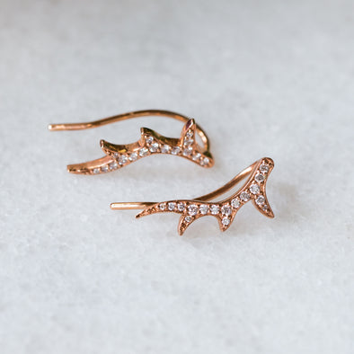 White Diamond Antler Ear Crawlers | 14-Karat