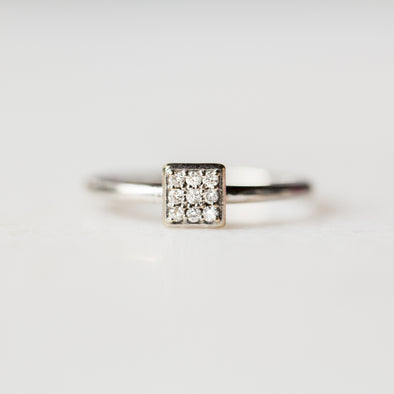 White Diamond Square Ring | 14-Karat