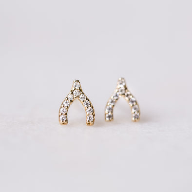 Mini Wishbone Earrings | 14-Karat
