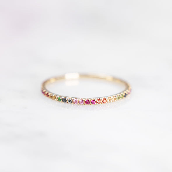 Dainty Rainbow Eternity Band | 14-Karat
