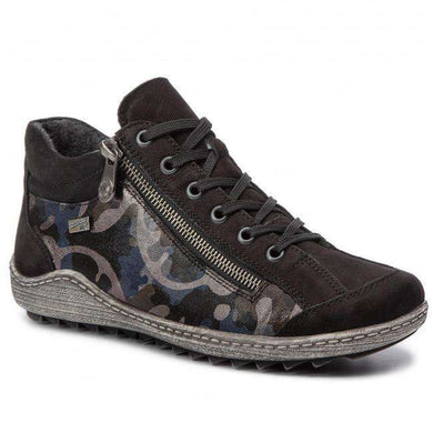 Boot Short Lace Up Metallic Camo Remonte Black Multi