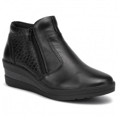 Remonte  Ladies Black Wedge Leather Ankle Boot