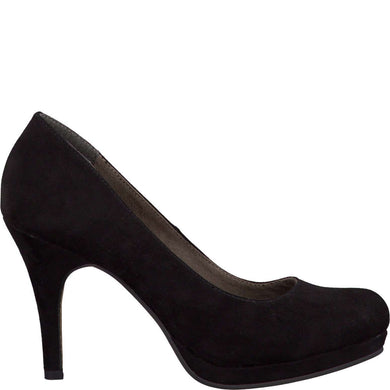 Court Shoe Round Toe High Heel Tamaris Suede Black