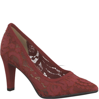 Court Shoe High Heel Lace Detail Tamaris Lipstick