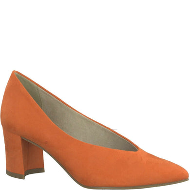 Court Shoe Low Heel V Cut Suede Marco Tozzi Papaya