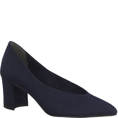 Court Shoe Low Heel V Cut Suede Marco Tozzi Navy