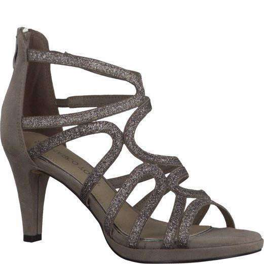 Boot Ankle Mid Heel Strappy Sandal Marco Tozzi Taupe