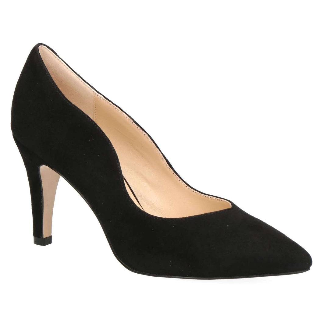 Court Shoe Cut Side Caprice Black Suede