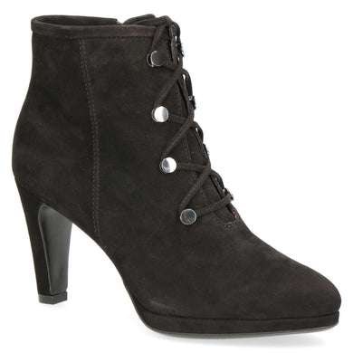 Boot Ankle High Heel Lace Up/Zip Caprice Black Suede