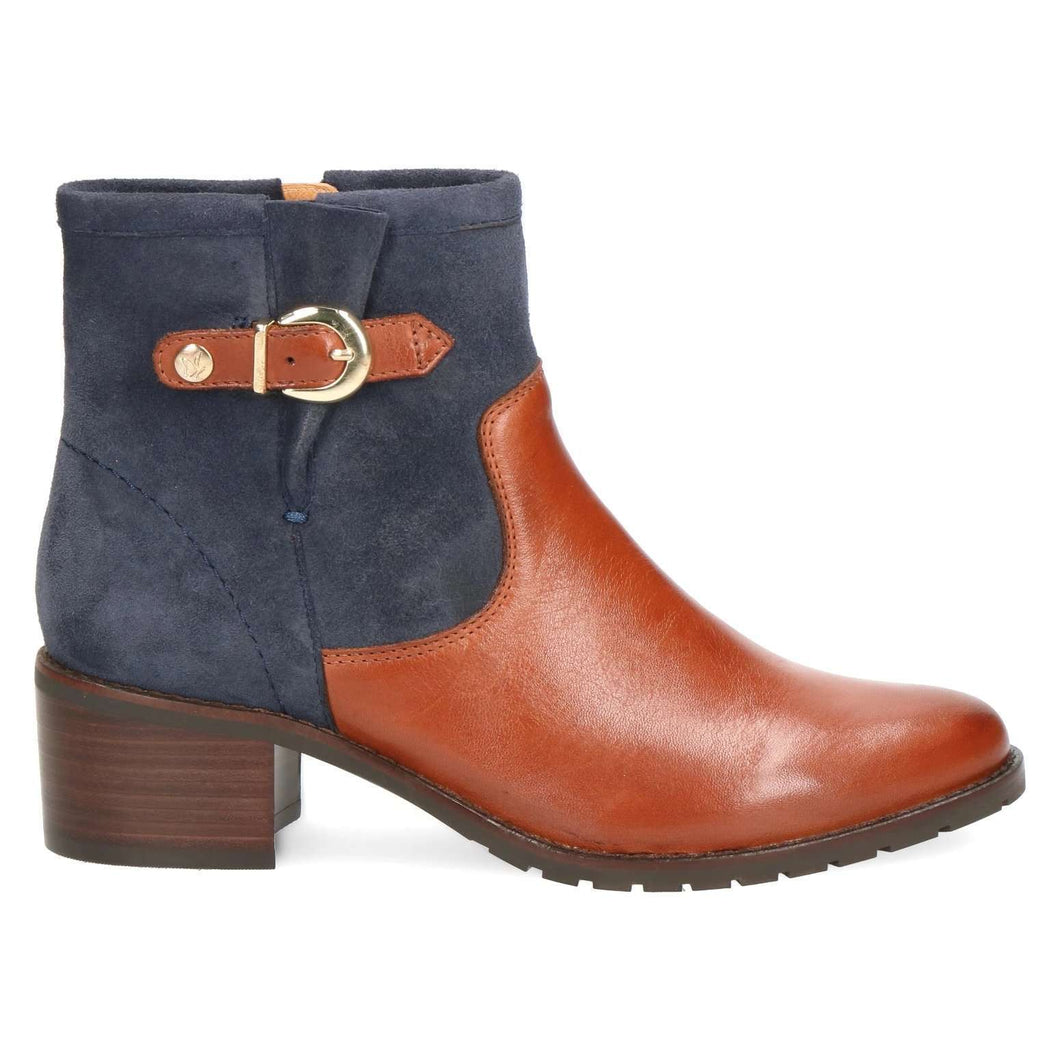 Boot Ankle Low Heel Two Tone Caprice Cognac/Navy
