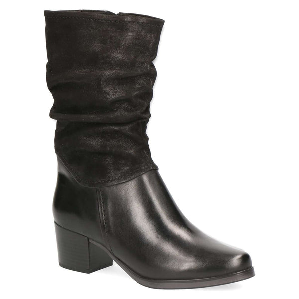 Boot Mid Calf Low Heel Leather/Leather Suede Caprice Black