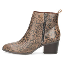 Boot Ankle Low Heel Snake Print Caprice Taupe/Brown