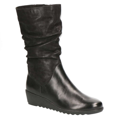 Boot Mid Calf Low Wedge Leather/Leather Suede Caprice Black