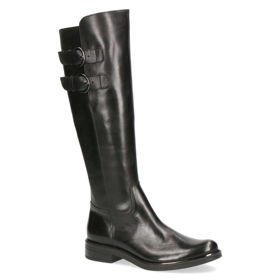 Boot Long Low Heel Double Buckles Caprice Black Nappa