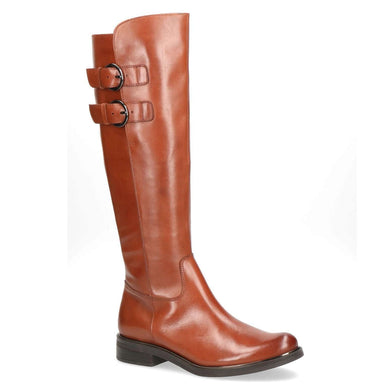 Boot Long Low Heel Double Buckles Caprice Cognac