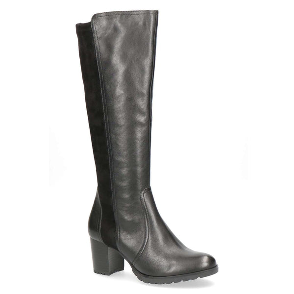 Boot Long Mid Heel Stretch Panel Caprice Black
