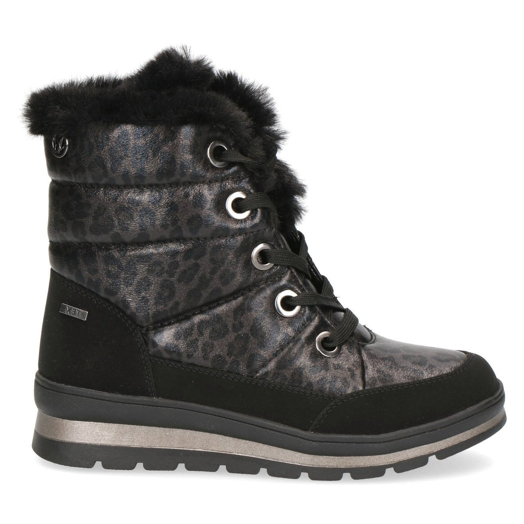 Caprice Black Leopard Lace-Up Tex  Snow Boot