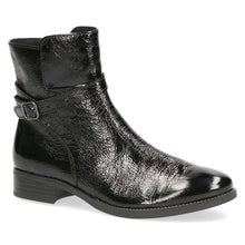 Boot Ankle Side Buckle Patent Caprice Black