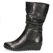 Caprice Mid-Calf Wedge Leather Boot With Ruched Design