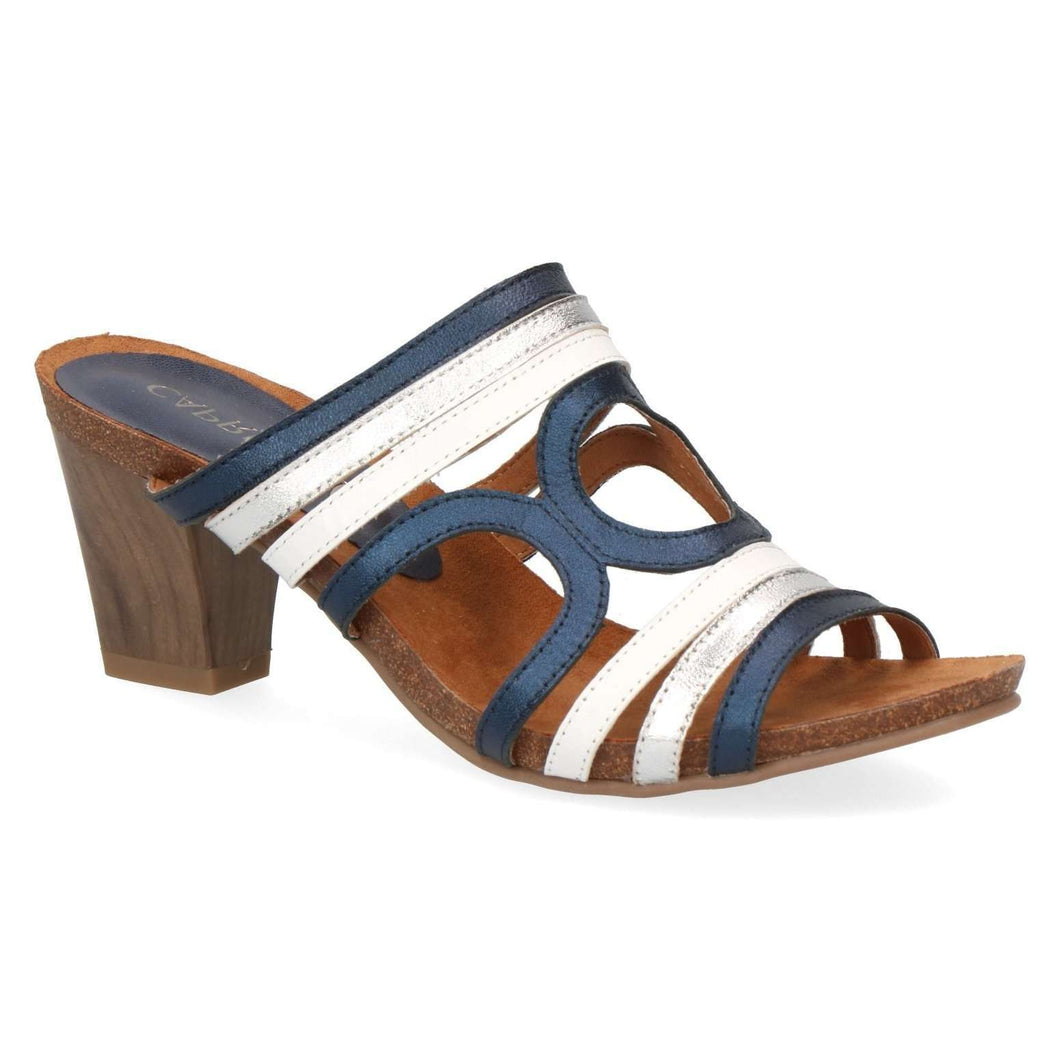 Mule Heel Leather Sandal Caprice Navy (available in 2 colours)