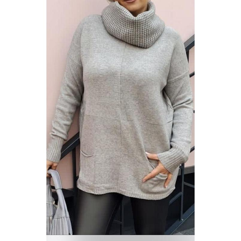 Jumper With Detachable Cowl Neck/ Snood (2 Colours)