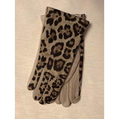 Leopard Touch Finger Gloves Beige