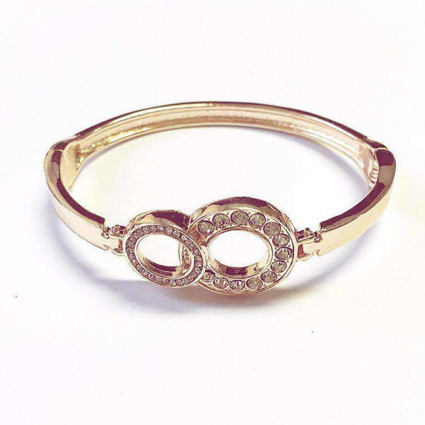 Love The Links Rose Gold Double Cycle Hinged Bangle