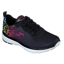 Skechers Flex Appeal 3.0 Leopard Pounce Bungee Trainer Black multi leopard