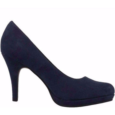 Court Shoe Round Toe High Heel Tamaris Suede Navy