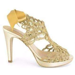 Boot Ankle Angel Alarcon Lacey Bow Peep Toe Gold