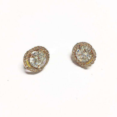Love The Link Elegant rose gold clip-on crystal earrings