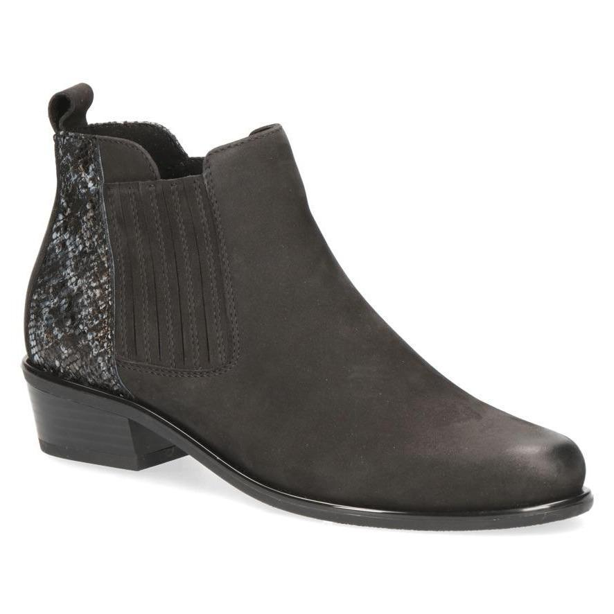 Caprice Black Comb Leather Ankle Boot With Snake Skin Detail
