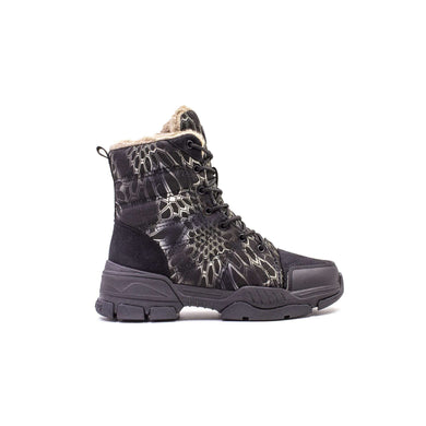 Boot Lace Up Water Repellent Warm Lining Keddo Black Pattern
