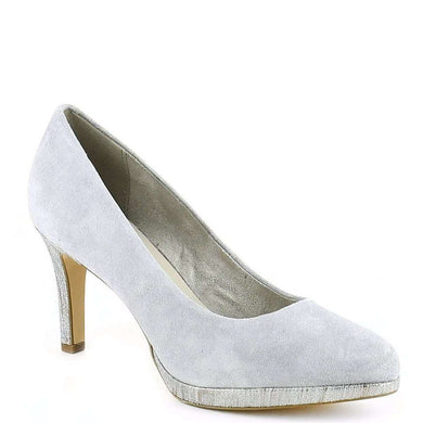 Court Shoe Pointed Toe Mid Heel Tamaris Suede Steel Grey Metallic