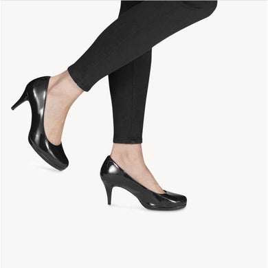 Court Shoe Rounded Toe Mid Heel Tamaris Black Patent