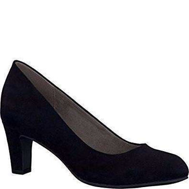 Court Shoe Round Toe Low Heel Tamaris Suede Black