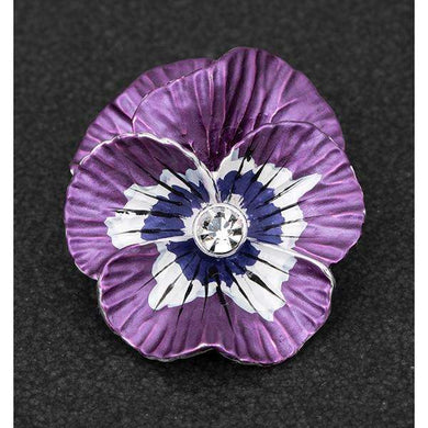 Equilibrium Violet Pansy Silver Plated Brooch