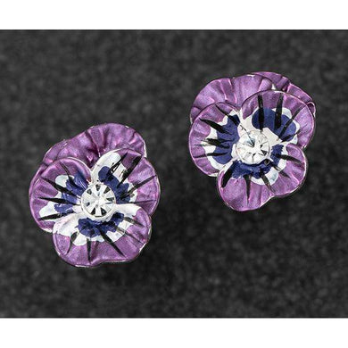 Equilibrium Violet Pansy Silver Plated Stud Earrings