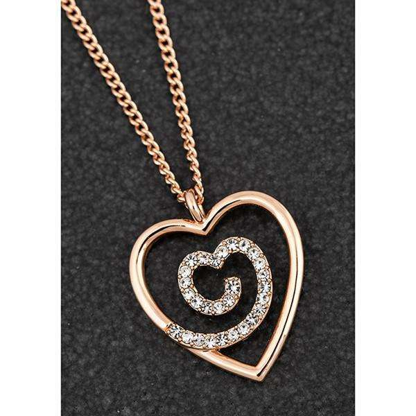 Equilibrium Diamante Swirl Heart Rose Gold Plated Necklace