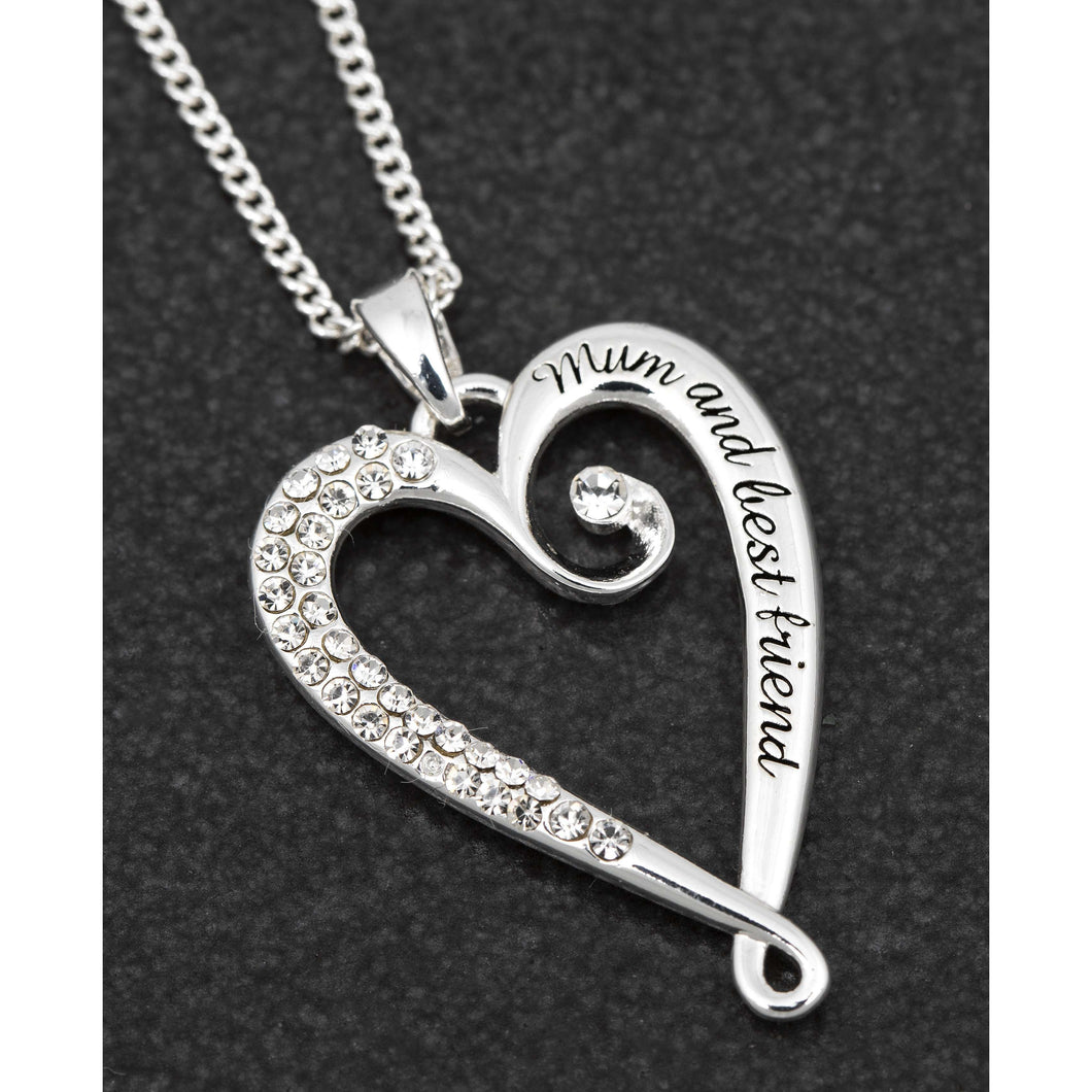 Looped Sparkly Heart 'Mum And Best Friend' Necklace
