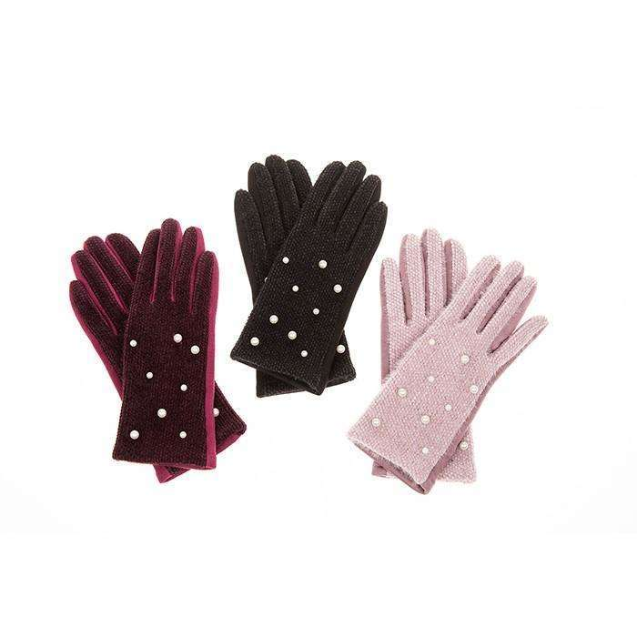 Chenille Pearl Detail Gloves (3 Colours)