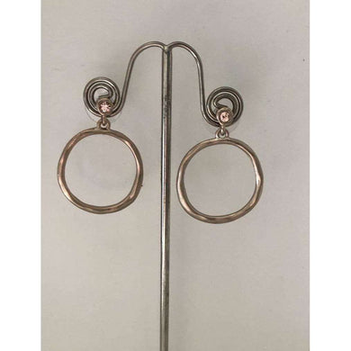 Love The Links Pewter cystal Stud With A Hoop Drop Earrings